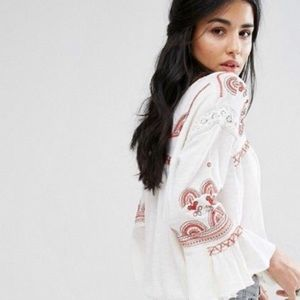 Free People Boho Red Embroidered Blouse